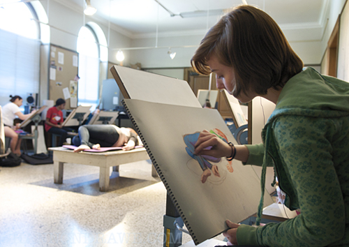 Drawing class at Texas Woman's University